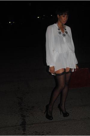 black shoes - stockings - white dress