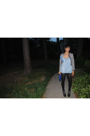 blouse - blue shorts - black tights - black hat - black shoes