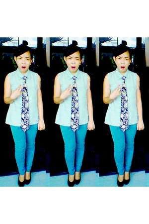 green Van Heusen top - aquamarine xxx pants - xxx tie