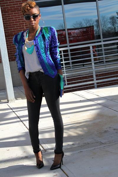 jeanne marc jacket - H&M jeans - Gap bag - American Apparel top