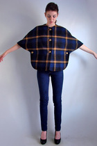 Vtg 70s WOOL PLAID Military Cape CAPELET Coat Jack