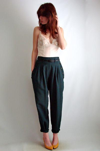 Dark Green The Family Vintage Pants | u0026quot;trewsu0026quot; by thefamilyvintage | Chictopia
