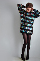 Vtg 80s Blk RAINBOW SEQUIN STRIPE Jumper Mini Dres