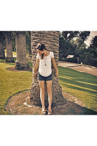 navy Wal Mart shorts - ivory Talula shirt - bronze Minnetonka flats