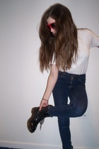 Hanes t-shirt - forever 21 sunglasses - Cheap Monday jeans - doc martens shoes