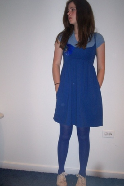 blue gap shirt - white h&amp;m shoes - blue dress - blue gifted tights