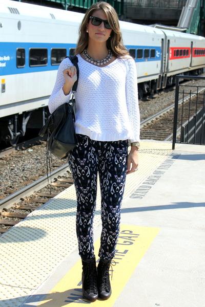 navy ikat rag & bone jeans - black rag & bone boots - white Zara sweater