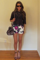 floral print Acqua shorts - lace Joie shirt - mui mui bag - Ray Ban sunglasses