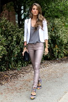 metallic rag & bone pants - white Aqua blazer - charcoal gray Joie shirt