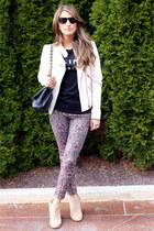 spiked Zara boots - leather Zara jacket - Chanel bag - Ray Ban sunglasses