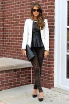 leopard joes jeans - white Zara blazer - black clutch Saint Laurent bag