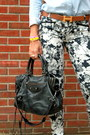 Hermes-belt-denim-urban-outfitters-shirt-balenciaga-bag-floral-zara-pants