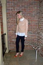 sweater - jeans - blouse - heels
