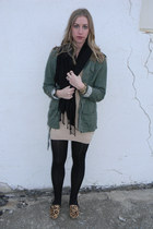 flats - sweater - tights - scarf