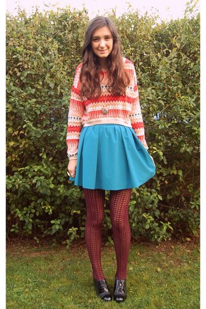 Primark skirt - new look tights - H&M jumper - Tu heels