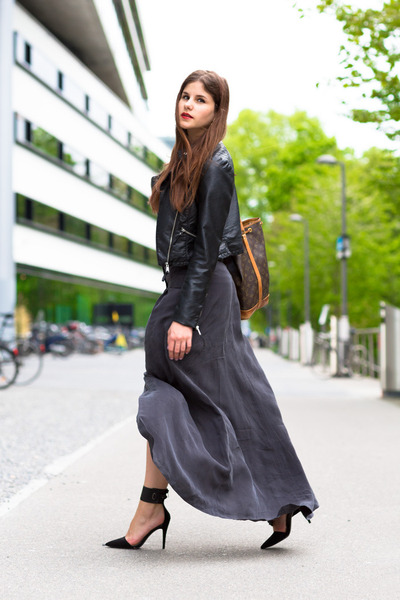 charcoal gray maxi skirt - black leather warehouse jacket - black Nicholas heels