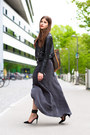 Black-leather-warehouse-jacket-charcoal-gray-maxi-skirt-black-nicholas-heels