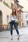 Blue-wildfox-jeans-blue-striped-blackfive-blazer