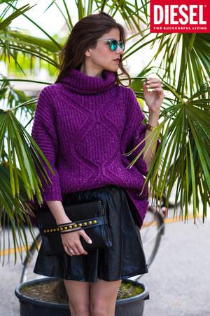knit Diesel jumper - studded bag - carrera sunglasses - leather skirt