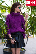 knit Diesel jumper - studded bag - carrera sunglasses - leather skirt