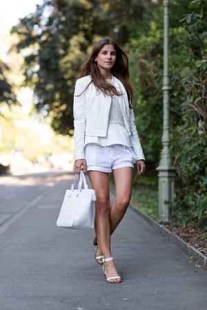 white YAS jacket - white Zara bag - white H&M shorts