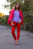 red suede Mango jacket - purple knit sweater - red J Brand pants