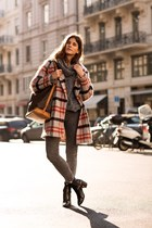 heather gray tartan Ganni jacket - black boots - heather gray turtleneck sweater