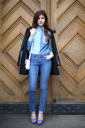 sky blue dotted Sheinside shirt - blue Diesel jeans