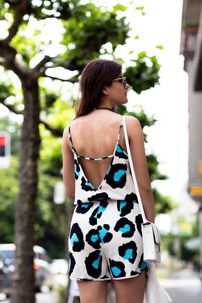 white leopard Fashion Union romper - white jacket - white bag