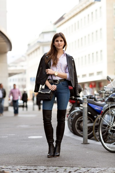 black thigh high Zign boots - blue skinny Hudson jeans