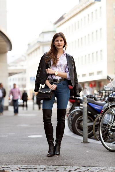 black thigh high Zign boots - blue skinny Hudson jeans