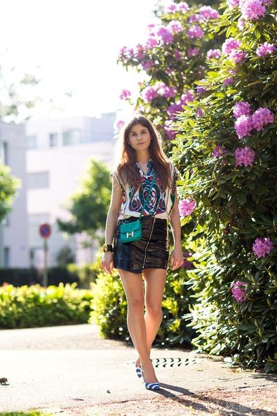 black stylestalker skirt - black Hermes bracelet - white patterned Hermes top