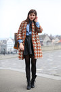 Black-lace-up-boots-houndstooth-pinko-coat-blue-denim-shirt