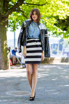 striped christian lacroix skirt - Moschino jacket - blue denim shirt