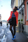 Red-biker-mango-jacket-paterned-shirt-black-trapeze-celine-bag
