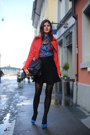 paterned shirt - red biker Mango jacket - black trapeze Celine bag