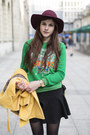 Green-kenzo-jumper-black-studded-boots-crimson-hat-mustard-jacket