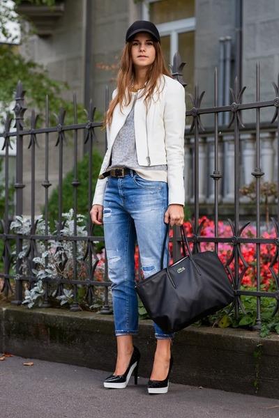 black Lacoste bag - blue Zara jeans - white leather YAS jacket