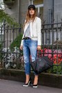 Blue-zara-jeans-white-leather-yas-jacket-gray-cheetah-townsen-sweater