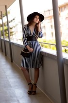 black Maison Michel hat - navy thakoon dress - black bag