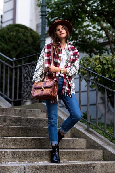 brown MCM bag - black SPM boots - blue Topshop jeans - brown hat