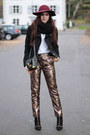 Statement-pants-black-studded-zara-boots-brick-red-h-m-hat