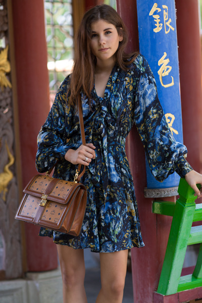 brown MCM bag - dark brown Zara shoes - blue floral Rachel Zoe dress