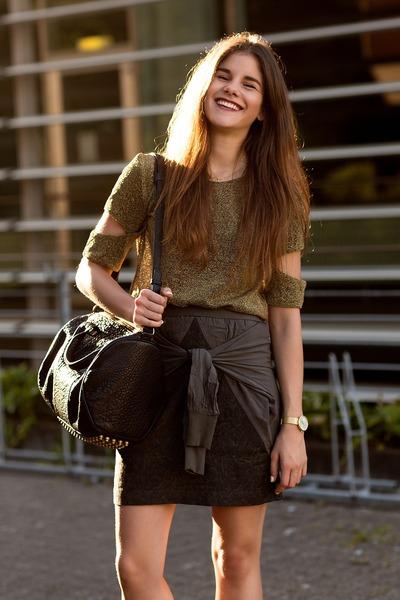 gray dagmar skirt - black Alexander Wang bag - gold Pitchouguina top