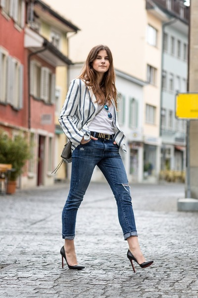 blue Wildfox jeans - blue striped blackfive blazer