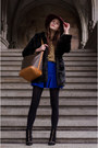Black-faux-fur-coat-mustard-shirt-blue-skirt