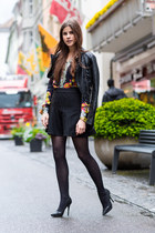 black leather warehouse jacket - floral Sheinside shirt - black Jimmy Choo heels