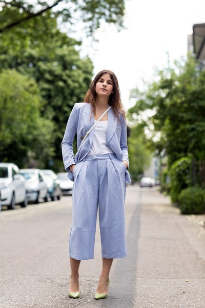 sky blue Front Row Shop blazer - sky blue Front Row Shop pants