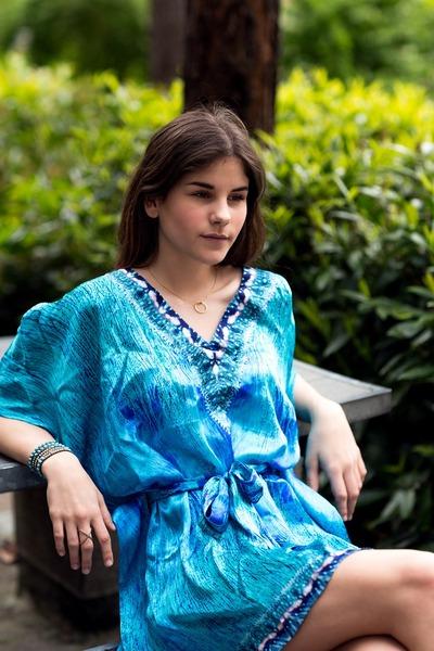 gold circle Gorjana necklace - blue seagrass dreams Noemii Resortwear dress
