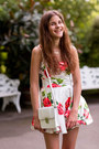 Rose-printed-sheinside-dress-red-jimmy-choo-heels-silver-onecklace-necklace